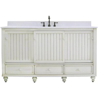 Sunny Wood Bristol Beach White 60 In. W x 34 In. H x 21 In. D Vanity Base, 2 Door/3 Drawer