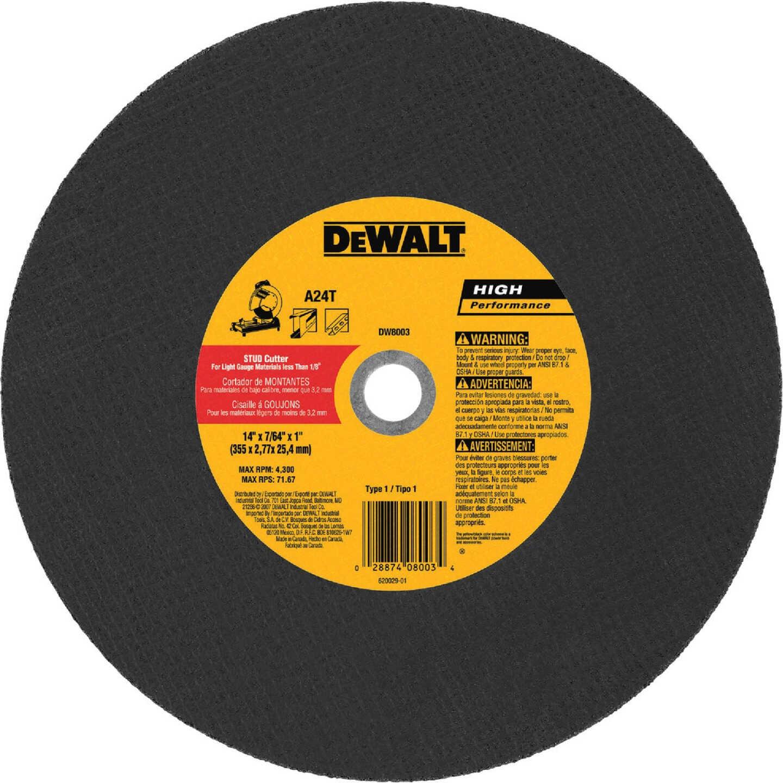 DeWalt HP Type 1 14 In. x 7/64 In. x 1 In. Metal Studs Cut-Off Wheel Image 1