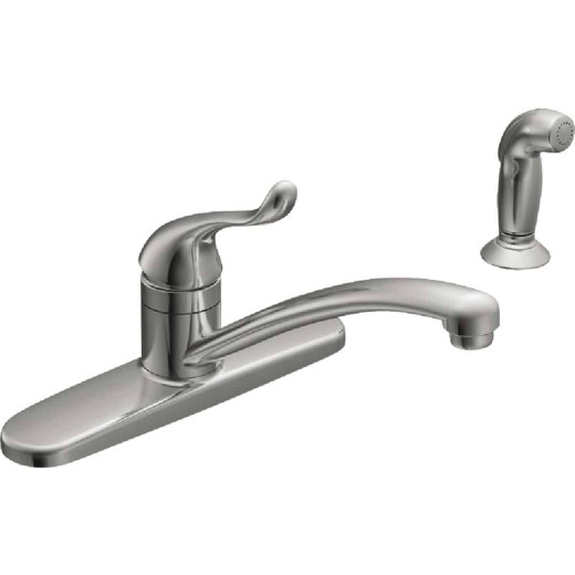 Moen Adler Single Handle Lever Kitchen Faucet with Side Spray, Chrome