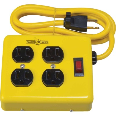 Yellow Jacket 4-Outlet Yellow Metal Power Strip with 4 Ft. Cord