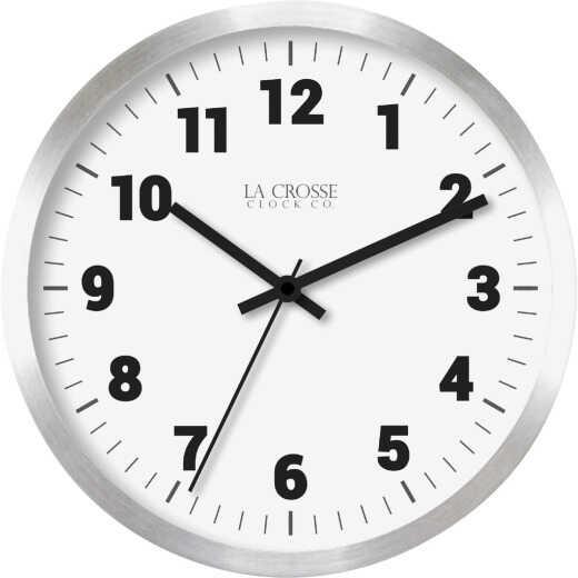 La Crosse Technology Round Brushed Silver Metal Wall Clock