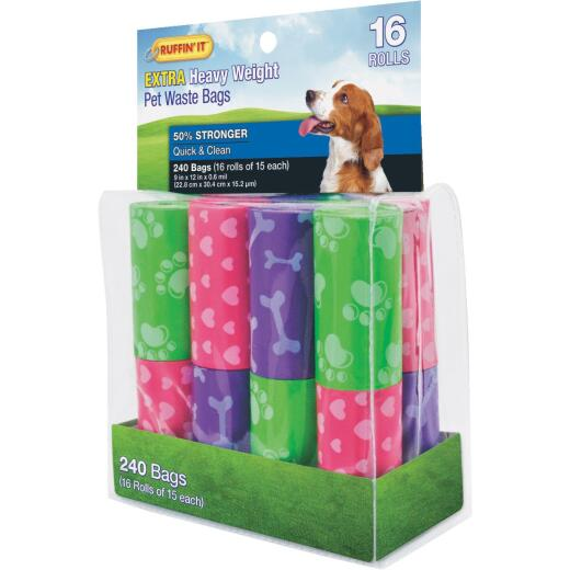 Ruffin' it 9 In. W. x 12 In. H. Multi-Color Extra Heavy Weight Pet Waste Bag (240-Pack)